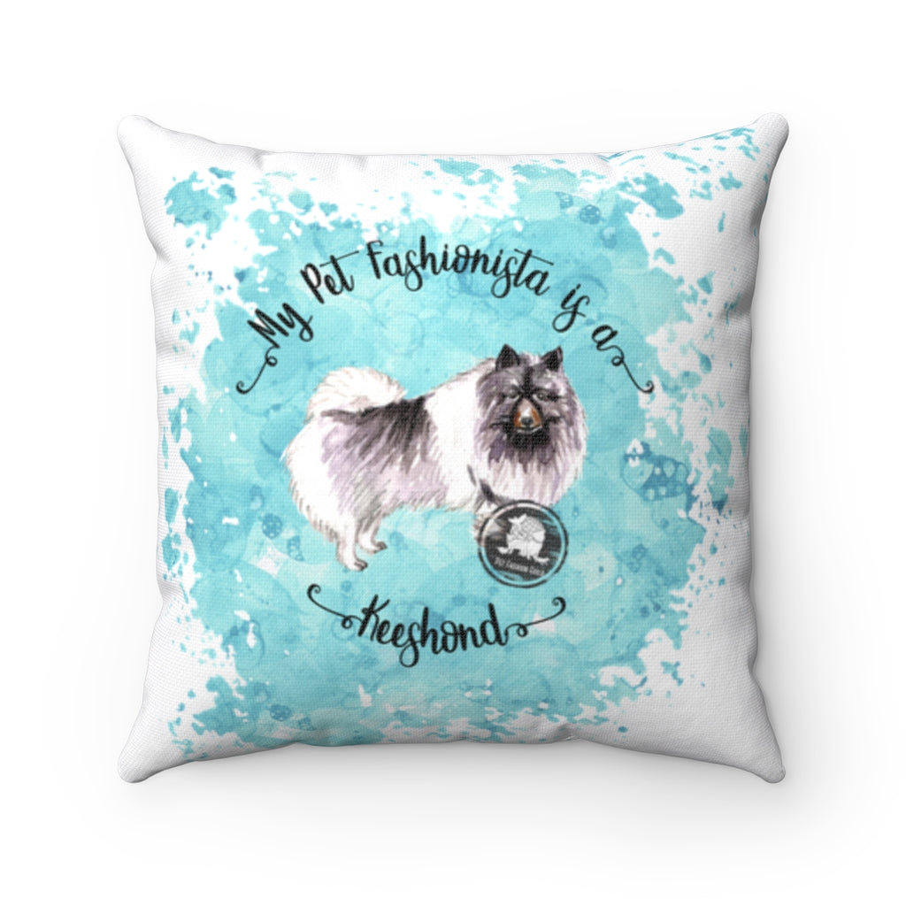Keeshond Pet Fashionista Square Pillow