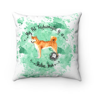 Shiba Inu Pet Fashionista Square Pillow