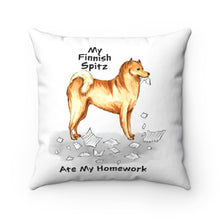 Load image into Gallery viewer, My Finnish Spitz Ate My Homework Square Pillow