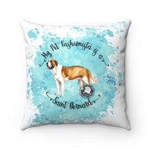 Load image into Gallery viewer, Saint Bernard Pet Fashionista Square Pillow