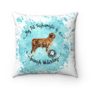Spanish Waterdog Pet Fashionista Square Pillow