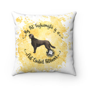 Flat-Coated Retriever Pet Fashionista Square Pillow