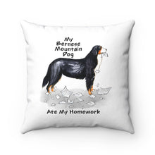 Load image into Gallery viewer, My Bernese Mountain Dog Ate My Homework Square Pillow