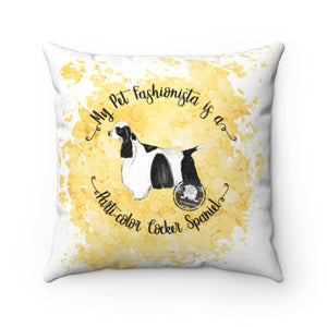 Parti-Color Cocker Spaniel Pet Fashionista Square Pillow