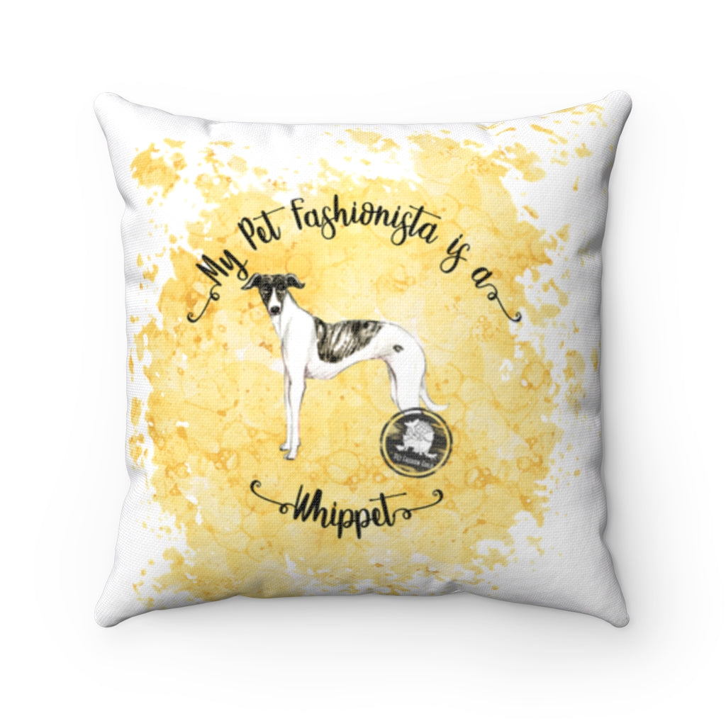 Whippet Pet Fashionista Square Pillow