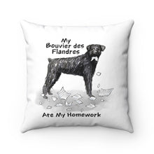 Load image into Gallery viewer, My Bouvier Des Flandres Ate My Homework Square Pillow
