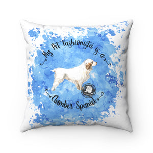 Clumber Spaniel Pet Fashionista Square Pillow