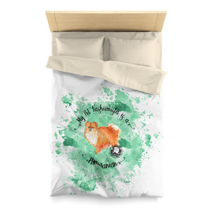 Pomeranian Pet Fashionista Duvet Cover