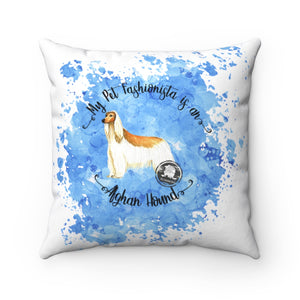 Afghan Hound Pet Fashionista Square Pillow