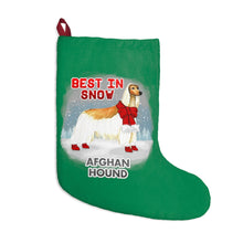 Load image into Gallery viewer, Afghan Hound Best In Snow Christmas Stockings