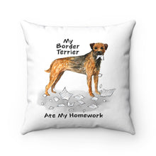 Load image into Gallery viewer, My Border Terrier Ate My Homework Square Pillow