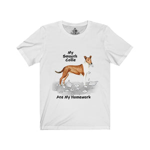 My Collie Smooth Ate My Homework Unisex Jersey Short Sleeve Tee