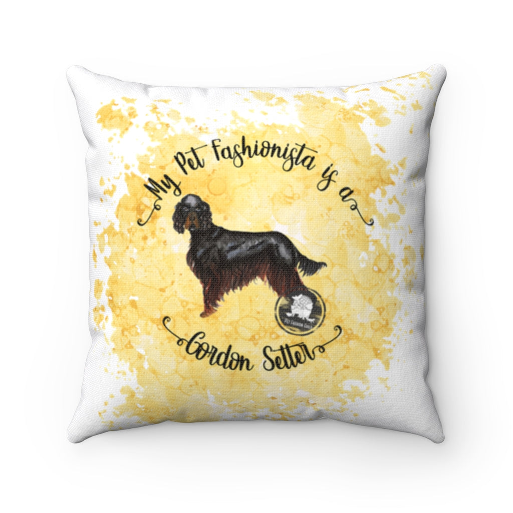 Gordon Setter Pet Fashionista Square Pillow