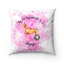 Load image into Gallery viewer, Basenji Pet Fashionista Square Pillow
