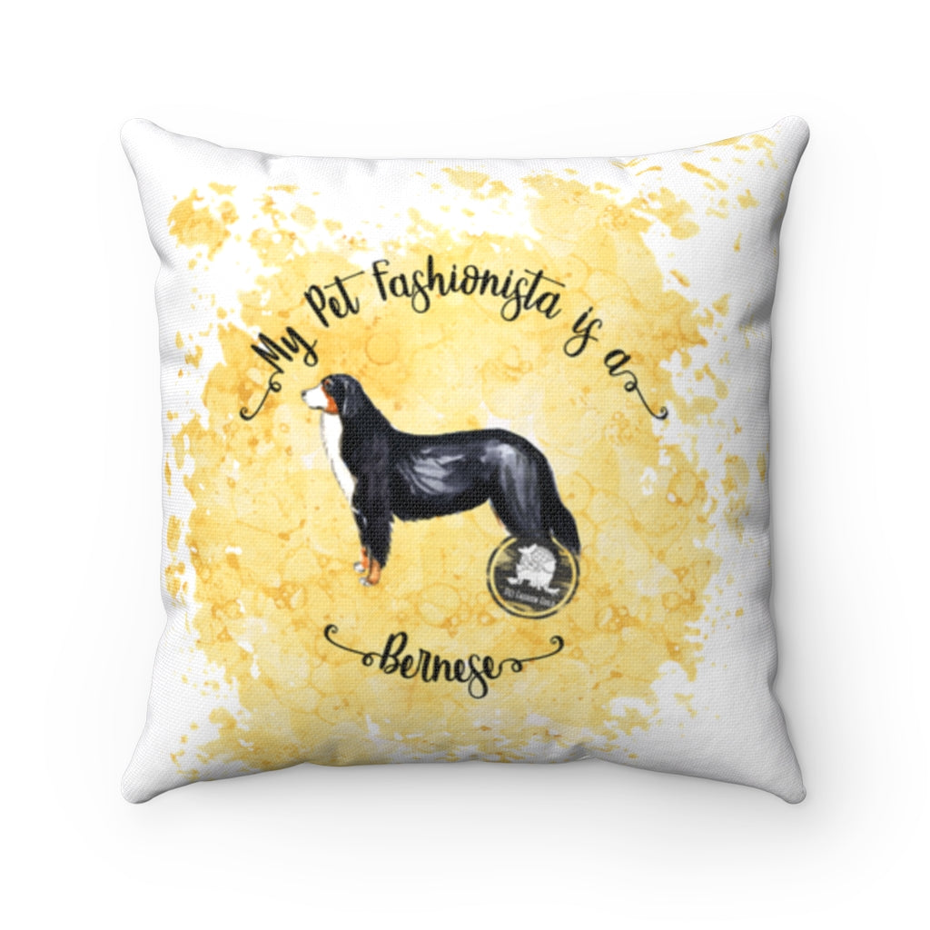 Bernese Mountain Dog Pet Fashionista Square Pillow