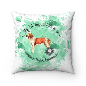 American English Coonhound Pet Fashionista Square Pillow