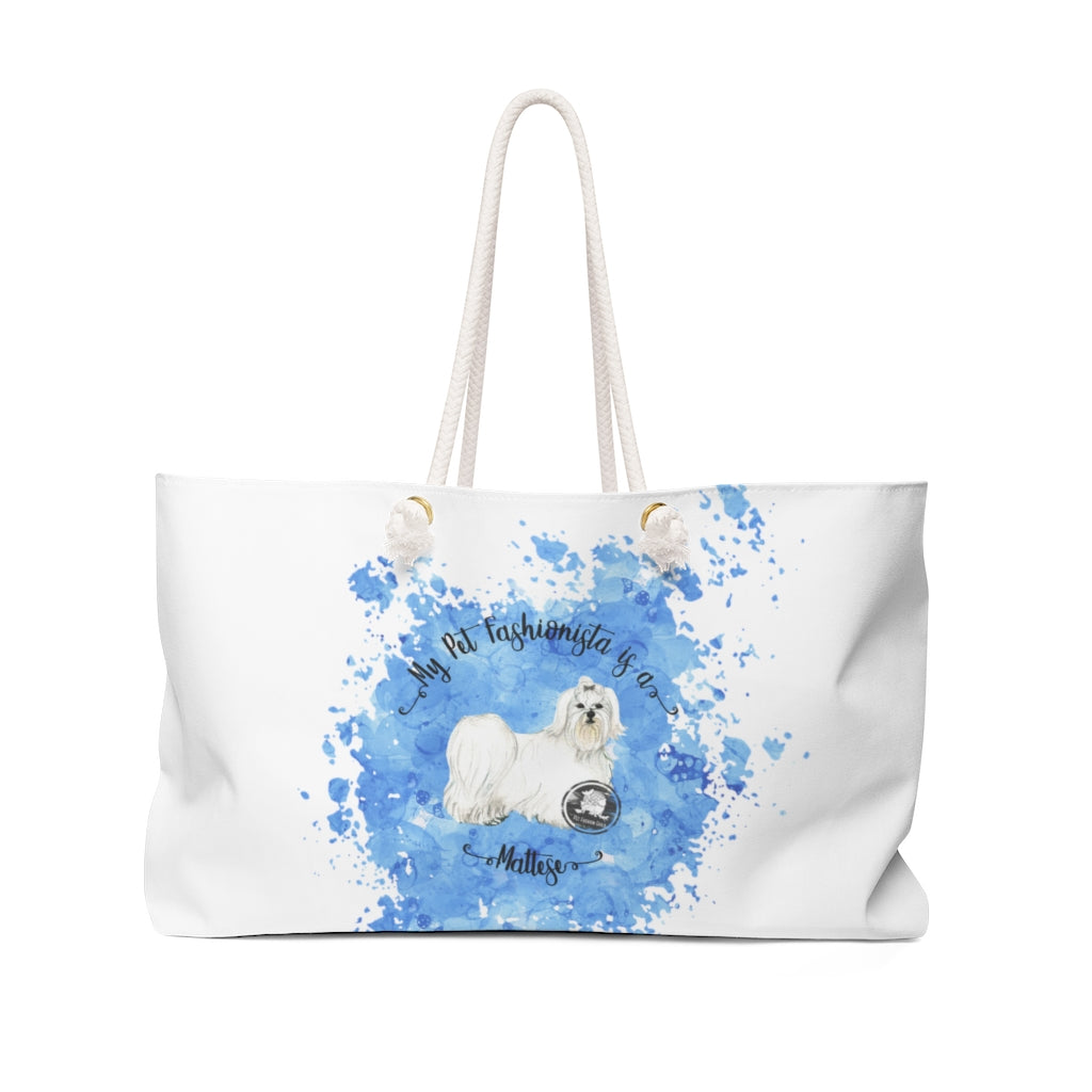 Maltese Pet Fashionista Weekender Bag