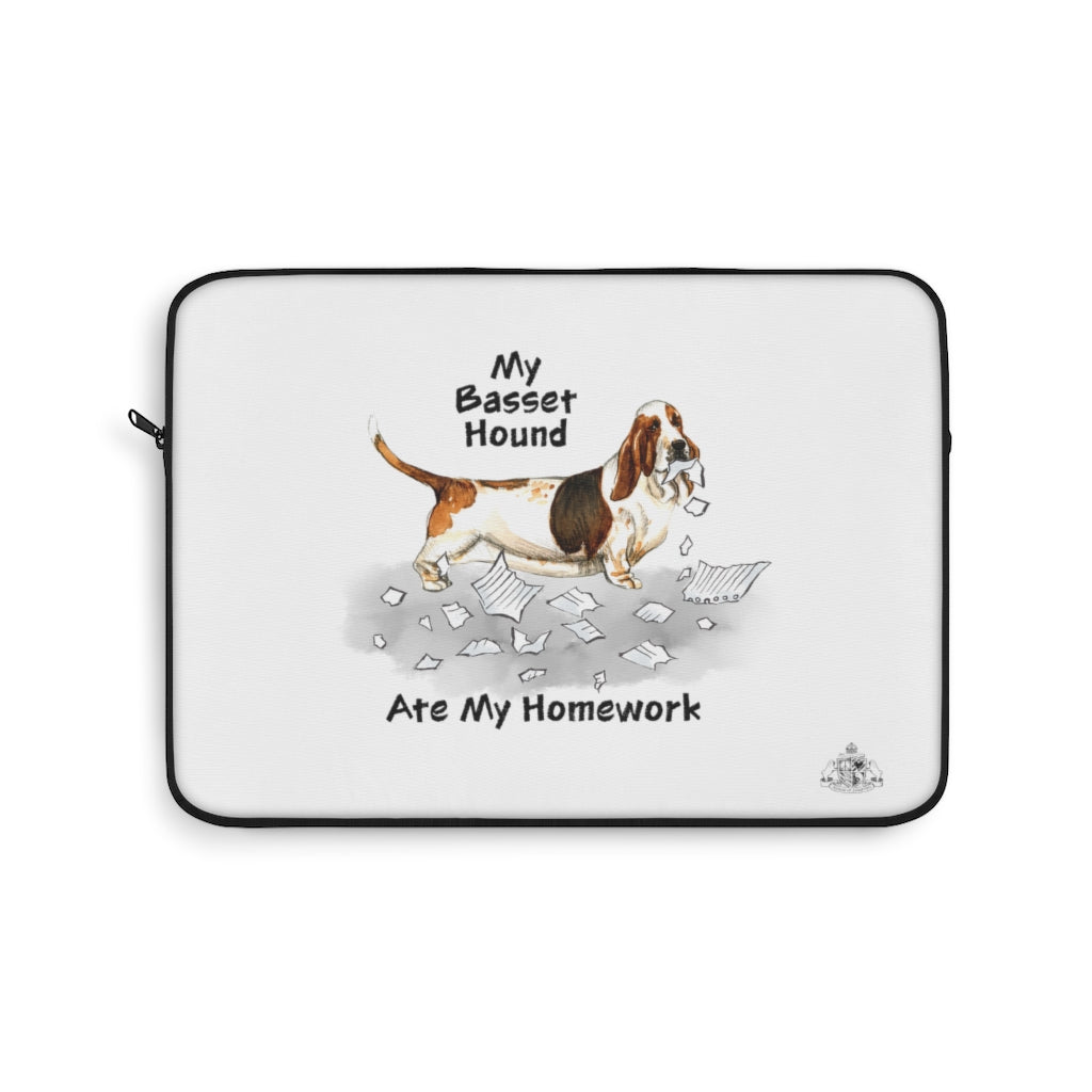 My Basset Hound Ate My Homework Laptop Sleeve
