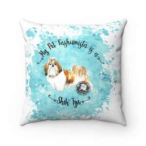 Shih Tzu Pet Fashionista Square Pillow