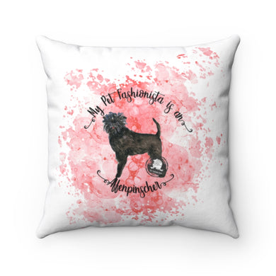 Affenpinscher Pet Fashionista Square Pillow
