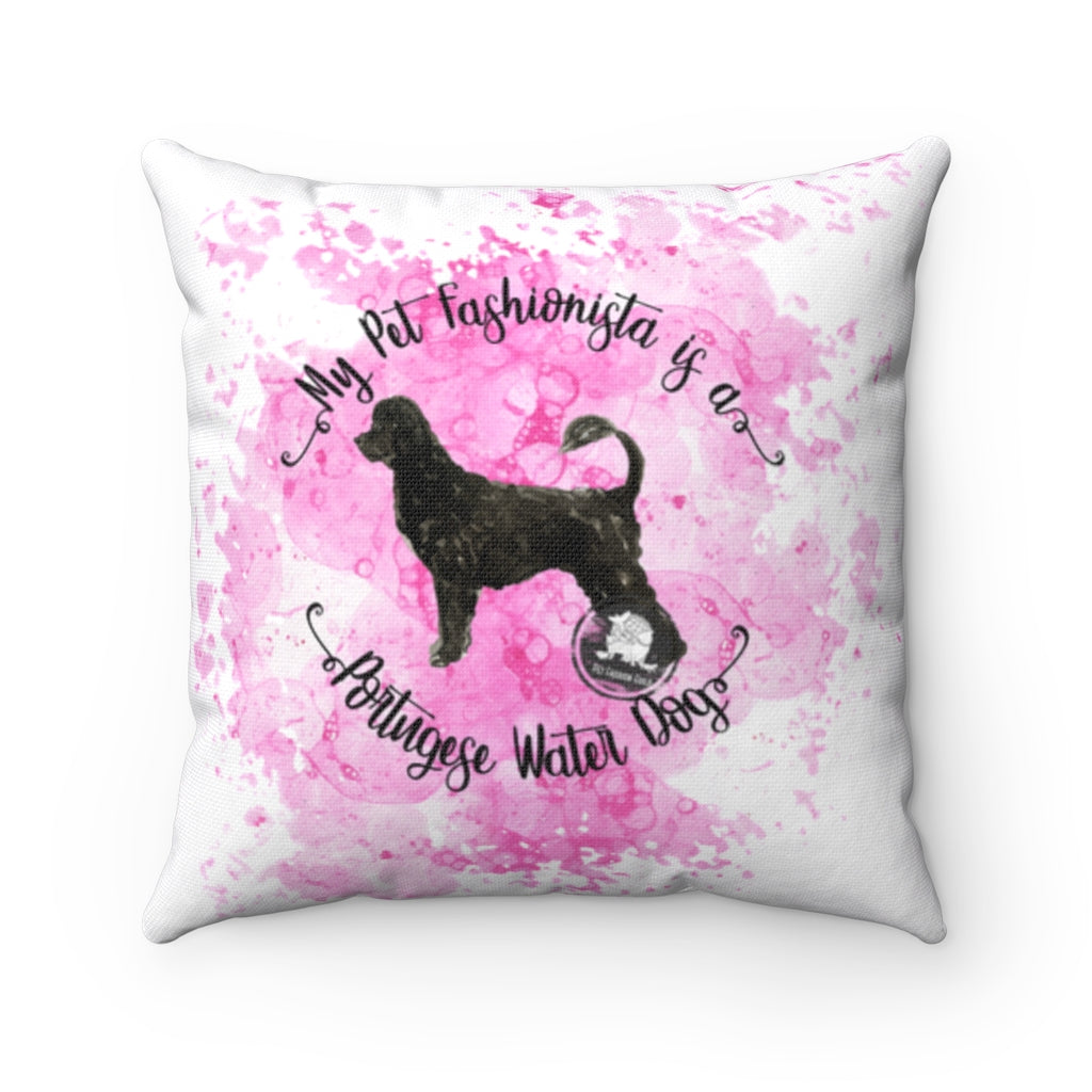 Portuguese Water Dog Pet Fashionista Square Pillow