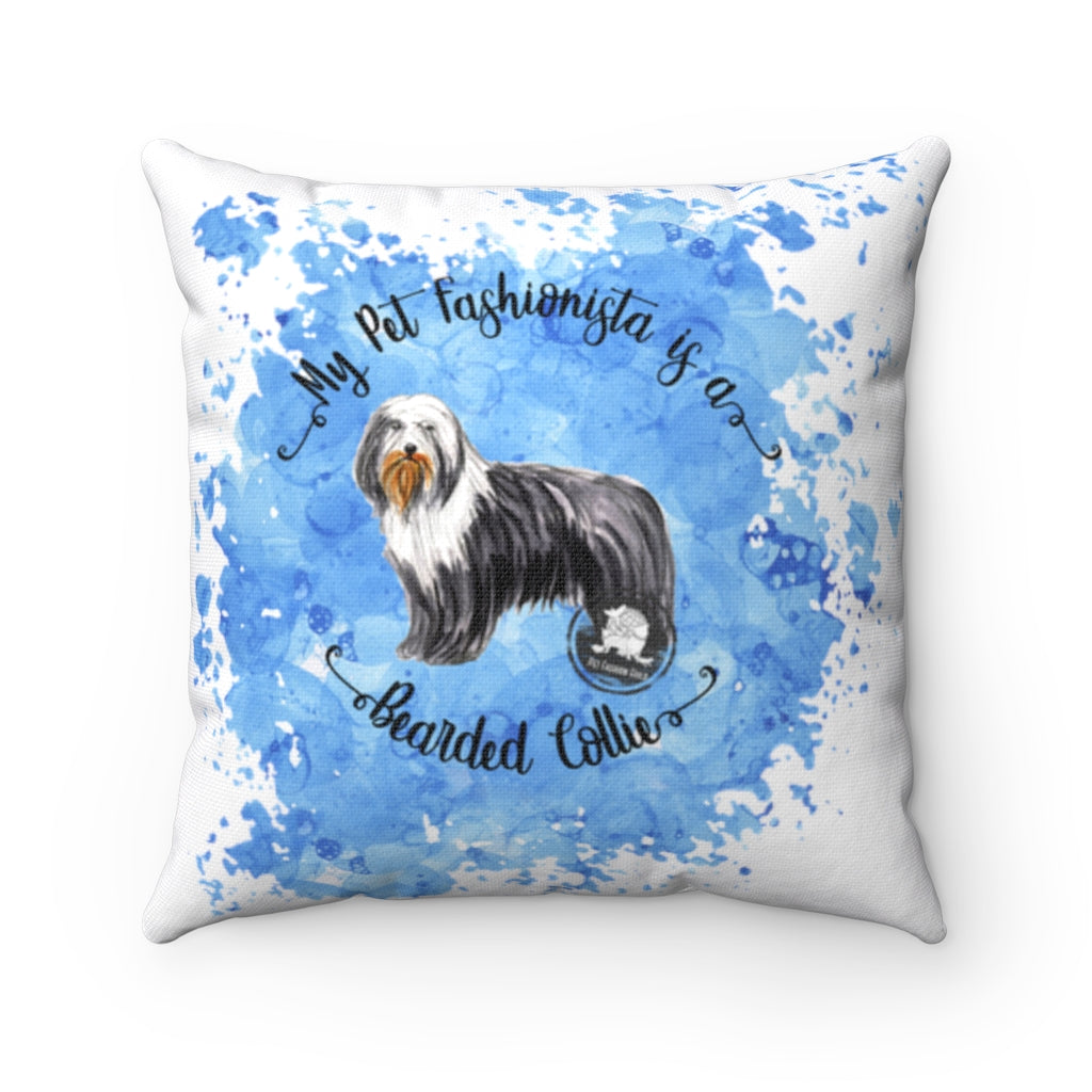 Bearded Collie Pet Fashionista Square Pillow