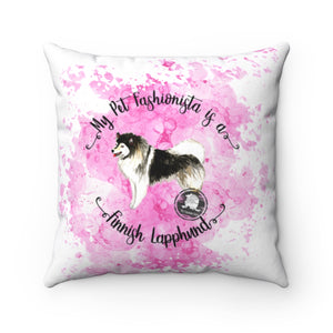 Finnish Lapphund Pet Fashionista Square Pillow
