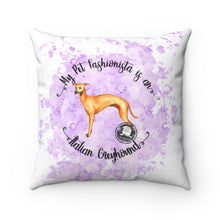 Load image into Gallery viewer, Italian Greyhound Pet Fashionista Square Pillow