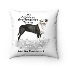 Load image into Gallery viewer, My American Staffordshire Terrier Ate My Homework Square Pillow