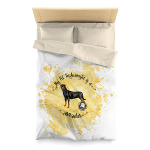 Rottweiler Pet Fashionista Duvet Cover