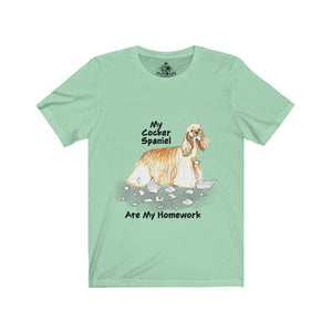 My Cocker Spaniel Ate My Homework Unisex Jersey Short Sleeve Tee