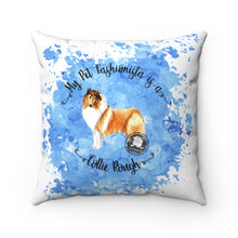 Load image into Gallery viewer, Collie (Rough) Pet Fashionista Square Pillow
