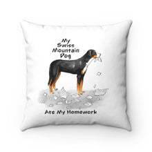 Load image into Gallery viewer, My Swiss Mountain Dog Ate My Homework Square Pillow
