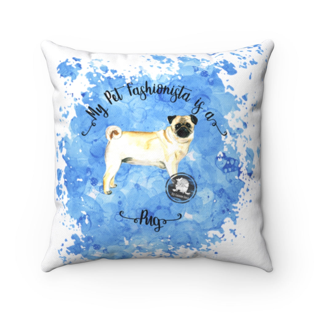 Pug Pet Fashionista Square Pillow