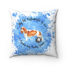 Load image into Gallery viewer, Cavalier King Charles Spaniel Pet Fashionista Square Pillow