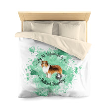 Load image into Gallery viewer, Shetland Sheepdog Pet Fashionista Duvet Cover
