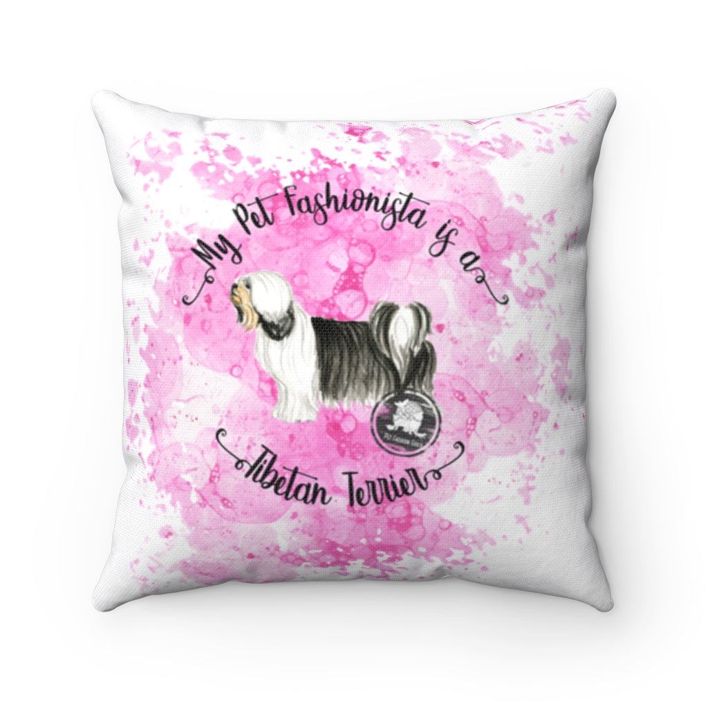 Tibetan Terrier Pet Fashionista Square Pillow