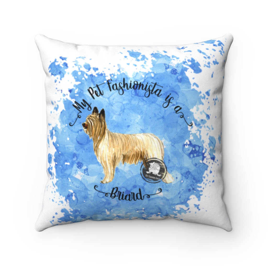 Briard Pet Fashionista Square Pillow