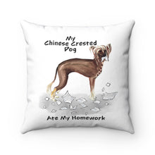 Load image into Gallery viewer, My Chinese Crested Ate My Homework Square Pillow
