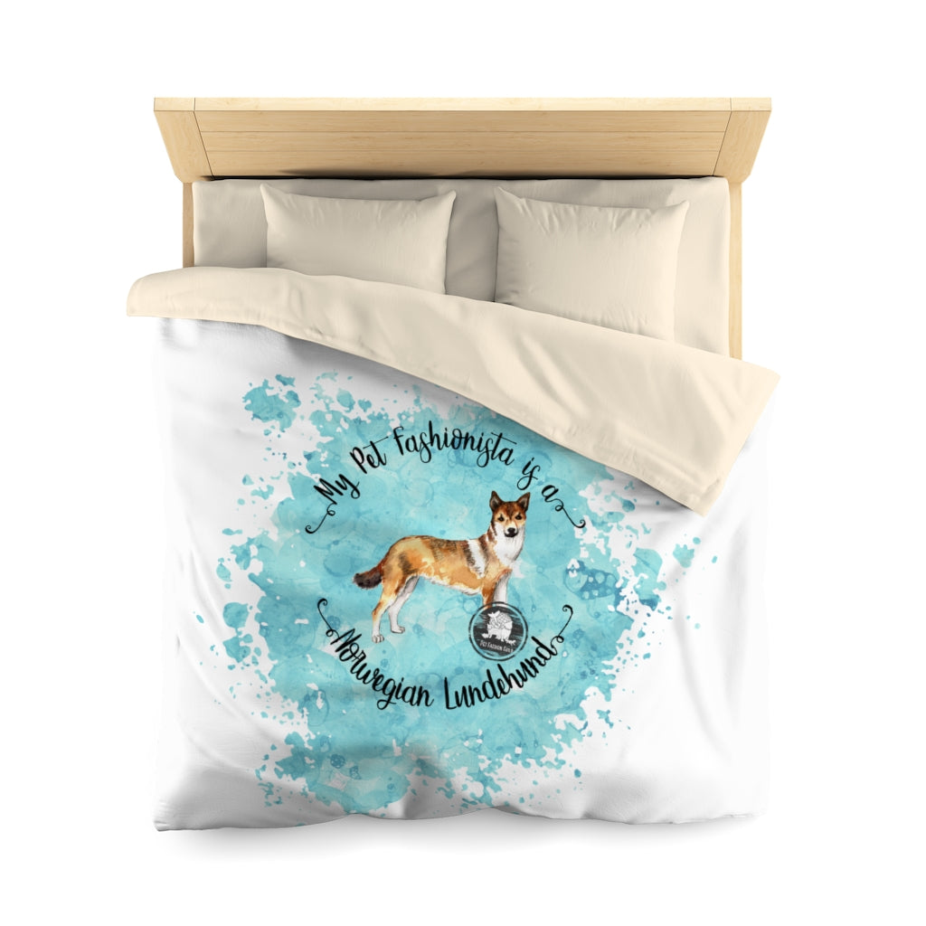 Norwegian Lundehund Pet Fashionista Duvet Cover
