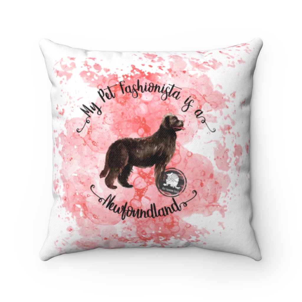 Newfoundland Pet Fashionista Square Pillow