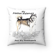 Load image into Gallery viewer, My Alaskan Malamute Ate My Homework Square Pillow