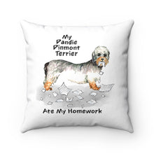 Load image into Gallery viewer, My Dandie Dinmont Terrier Ate My Homework Square Pillow