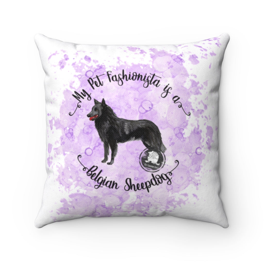 Belgian Sheepdog Pet Fashionista Square Pillow
