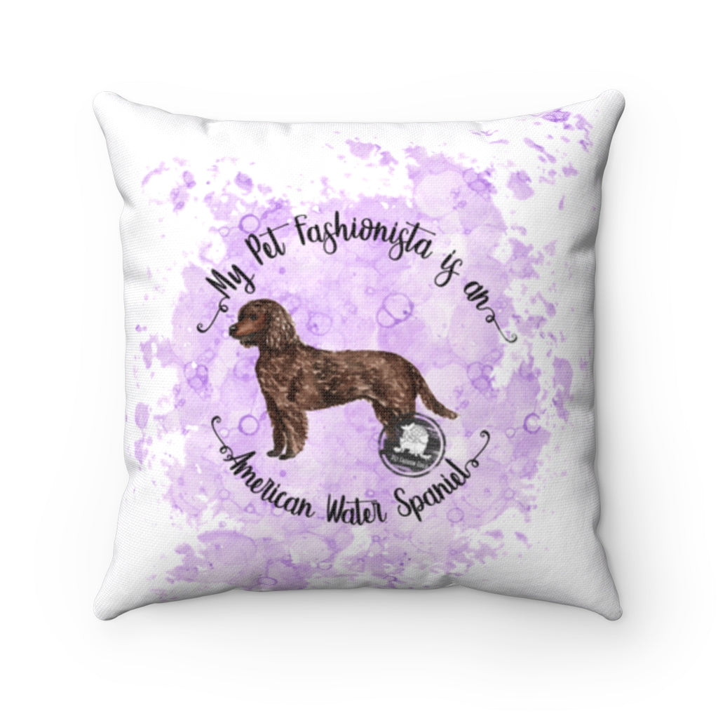 American Water Spaniel Pet Fashionista Square Pillow