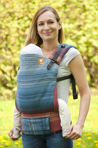 Half Toddler WC Carrier - Evening Flame Blue Weft - Baby Tula