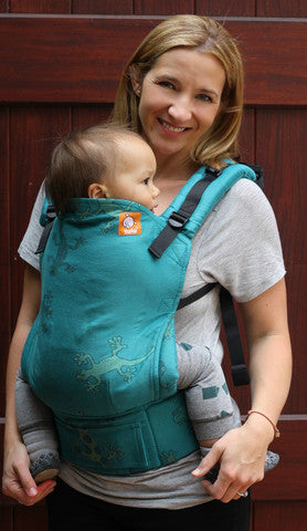 Half Toddler Wrap Conversion Carrier - Geckos Emerald - Baby Tula