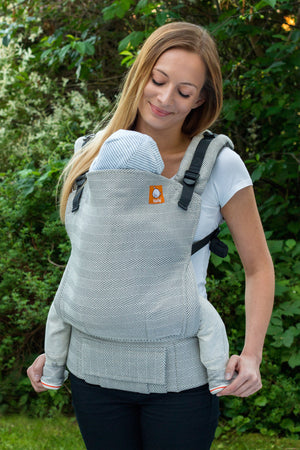 Half Toddler Wrap Conversion Carrier - Didymos Lisca Grigio - Baby Tula
