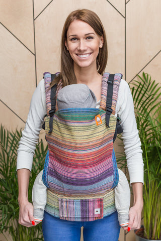 Half Toddler Wrap Conversion Carrier - Double Bliss Gris Fonce Weft - Baby Tula