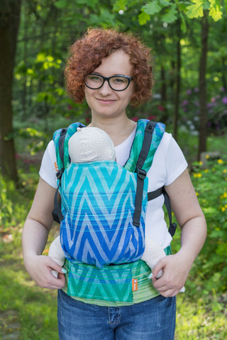 Baby Tula Half Free-to-Grow Wrap Conversion - ZigZag Blue Sky